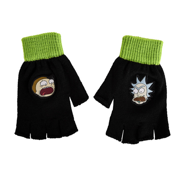 Rick and Morty - Fingerlose Faces Handschuhe schwarz